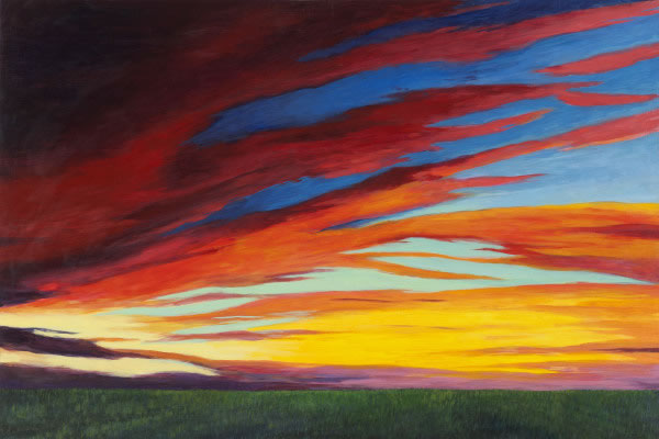 Barbara Thomas, The Day of Fire and Sun, oil on board, 16 x 24 inches