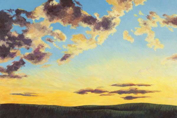 Barbara Thomas, Heavens of Glory Now and Then, oil on board, 16 x 24 inches