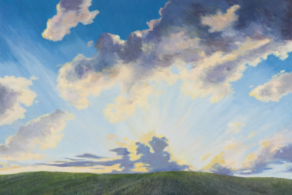 Barbara Thomas, Great is the Sun and Wide He Goes, oil on board, 16 x 24 inches