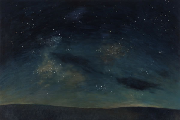 Barbara Thomas, Secrets of Earth's Night, oil on board, 16 x 24 inches