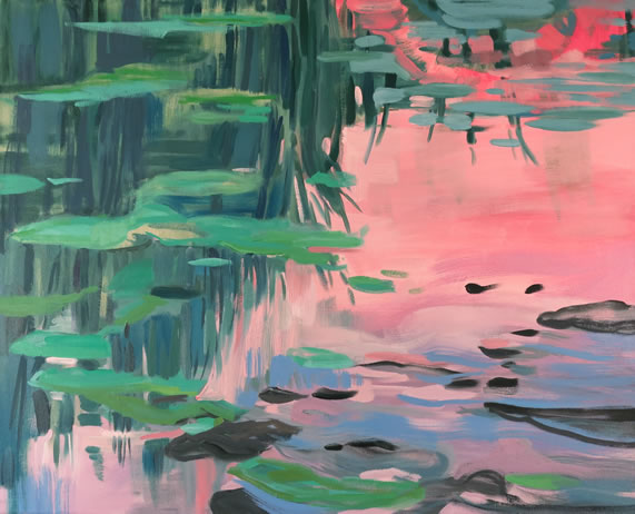 Kamilla Talbot, Pond Edge 2, 2016 oil on canvas, 34 x 42 inches