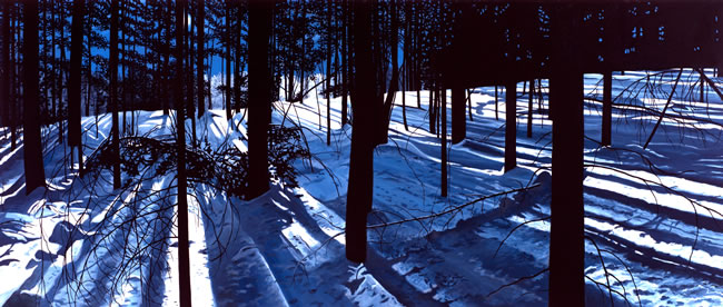Charles Yoder, Rhythm in Blues, 2013, oil on canvas, 36 x 84 inches