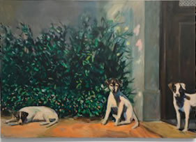 Dinah Maxwell Smith, Three Dogs, Sunning, 1984 Oil on canvas 28 x 40 inches $6,500