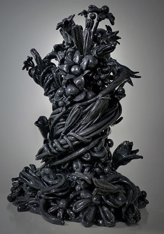 John Monti - Flower Cluster 4, 2013-2014, Cast urethane resin, platinum pearl resin finish, 29 h x 22 w x 16 d inches