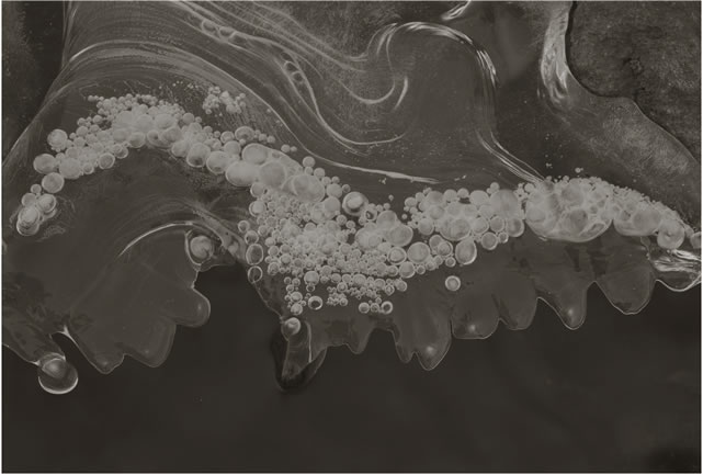Koichiro Kurita -  'Ice Bubbles', Nagano, Japan, 1989, platinum palladium print,  8 x 10 inches,  Edition 20 and 23 x 34 inches, Edition 5